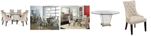 """Furniture Marais Dining Room Furniture, 7 Piece Set (60"""" Mirrored Dining Table and 6 Chairs)"""