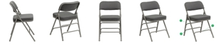 Flash Furniture Hercules Series Premium Curved Triple Braced & Double-Hinged Gray Fabric Metal Folding Chair