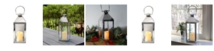 JH Specialties Inc/Lumabase Lumabase Chrome Traditional Metal Lantern with LED Candle