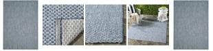 "Safavieh Courtyard Blue and Light Gray 5'3"" x 7'7"" Sisal Weave Area Rug"