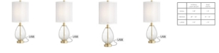 Pacific Coast Simple Glass Body Table Lamp with USB