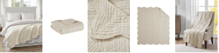 "Madison Park Tuscany Oversized 60"" x 72"" Quilted Scalloped-Edge Throw"
