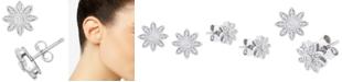 Macy's Diamond Flower Stud Earrings (1/10 ct. t.w.) in Sterling Silver