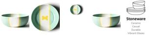 Coton Colors by Laura Johnson Mint Color Block Dog Bone Large Bowl