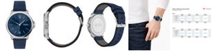 HUGO Men's #Lead Blue Leather Strap Watch 42mm