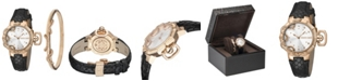 Roberto Cavalli By Franck Muller Women's Swiss Quartz Rose Gold Black Calfskin Leather Strap Watch & Bracelet Gift Set, 34mm
