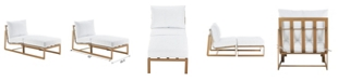 Elle Decor Mirabelle White Outdoor Armless Chaise Lounge Chair, Quick Ship