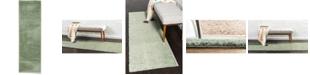 "Bayshore Home Bridgeport Home Salon Solid Shag Sss1 Sage Green 2' x 6' 7"" Runner Area Rug"