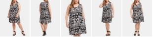 Karen Kane Plus Size Sleeveless Printed Swing Dress