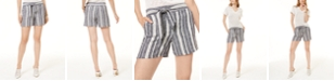 INC International Concepts INC Striped Tie-Waist Shorts, Created for Macy's