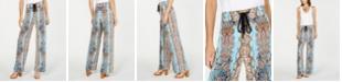 INC International Concepts INC Petite Printed Crinkle Gauze Wide-Leg Pants, Created for Macy's