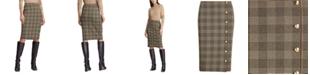 Lauren Ralph Lauren Petite Glen Plaid-Print Button-Trim Skirt