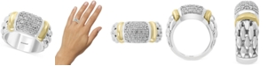 EFFY Collection EFFY® Diamond Cluster Statement Ring (1/2 ct. t.w.) in Sterling Silver & 18k Gold