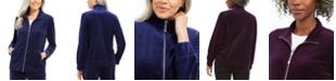 Karen Scott Petite Velour Zip-Front Jacket, Created For Macy's