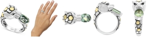 EFFY Collection EFFY® Green Quartz (1-3/4 ct. t.w.) & Black Spinel (1/3 ct. t.w.) Leopard Ring in Sterling Silver & 18k Gold Over Sterling Silver