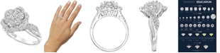 Macy's Diamond Flower Halo Cluster Engagement Ring (1-1/2 ct. t.w.) in 14k White Gold