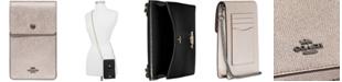 COACH Metallic Leather Snap Phone Crossbody