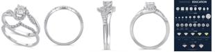 Macy's Certified Diamond (3/8 ct. t.w.) Bridal Set in 14K White Gold