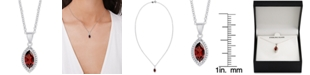 """Macy's Rhodolite Garnet Marquise 18"""" Pendant Necklace (1-1/5 ct. t.w.) in Sterling Silver"""