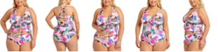 California Waves Trendy Plus Size Tropic Mix Printed Cinch Front Tankini Top & Ruched-Side Bikini Bottoms, Created for Macy's