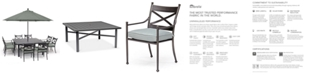 """Furniture Montclaire Outdoor Aluminum 9-Pc. Dining Set (64"""" X 64"""" Table & 8 Dining Chairs) With Sunbrella® Cushions, Created for Macy's"""