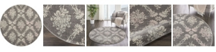 """Long Street Looms Peace PEA09 Gray, Pink 5'3"""" Round Area Rug"""