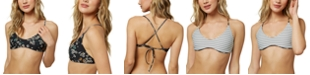 O'Neill Juniors' Raven Printed Reversible Strappy-Back Bralette Bikini Top, Created for Macy's