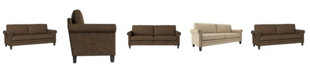 SUNDAY THEORY Handy Living Grant Rolled Arm Sofa in Distressed Faux Leather