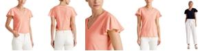 Lauren Ralph Lauren Cotton Flutter-Sleeve Top