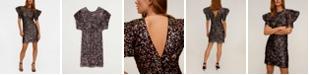 MANGO Women's Puffed Sleeves Sequined Dress