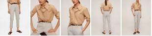 MANGO Women's Leather Belt Pants