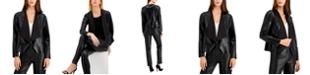 Anne Klein Vegan Leather Drape-Front Jacket