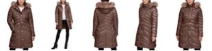 Kenneth Cole Faux-Fur-Trim Hooded Puffer Coat