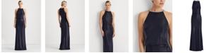 Lauren Ralph Lauren Metallic Halter-Neck Gown