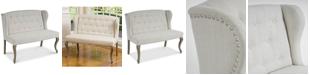 Noble House Coalton Wingback Button-Tufted Fabric Loveseat