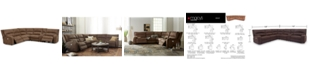 Furniture LIMITED AVAILABILITY Brant 6-Pc. Fabric Sectional Sofa with 3 Power Recliners, Power Headrests, Console and USB Power Outlet