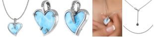 """Marahlago Larimar & White Sapphire Accent Heart 21"""" Pendant Necklace in Sterling Silver"""