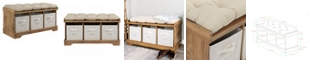 """Walker Edison 42"""" Wood Storage Bench with Totes and Cushion - Barnwood"""