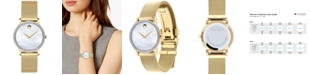 Movado Women's Swiss Museum Classic Diamond (1/4 ct. t.w.) Gold-Tone PVD Stainless Steel Mesh Bracelet Watch 28mm