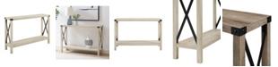 Walker Edison 46 inch Metal X Entry Table in White Oak