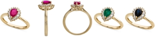 Macy's Ruby (3/4 ct. t.w.) & Diamond (1/4 ct. t.w.) Ring in 14k Gold(Also Available in Emerald & Sapphire)