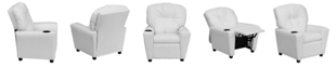 Flash Furniture Contemporary White Vinyl Kids Recliner With Cup Holder