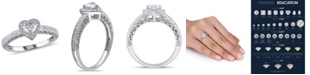Macy's Certified Diamond (1/2 ct. t.w.) Heart-Shape Halo Engagement Ring in 14k White Gold