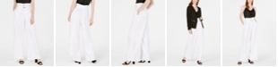 Bar III Satin Belted Paperbag-Waist Wide-Leg Pants, Created for Macy's