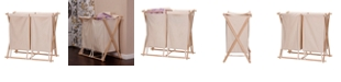 Household Essentials Collapsible Wood X-Frame Double Laundry Hamper