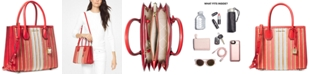 Michael Kors Mercer Accordion Leather & Straw Tote