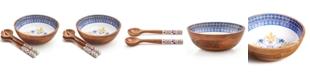 Martha Stewart Collection La Dolce Vita Wood & Enamel 3-Pc. Salad Set, Created for Macy's