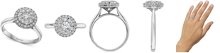 EFFY Collection EFFY® Diamond Halo Cluster Engagement Ring (3/4 ct. t.w.) in 14k White Gold