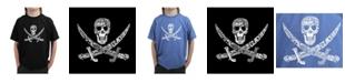 LA Pop Art Big Boy's Word Art T-Shirt - Pirate Captains, Ships and Imagery