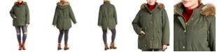 Celebrity Pink Juniors' Plus Size Faux-Fur Trim Hooded Parka Coat